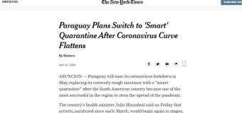 """Periódico Estadounidense destacó el plan de Paraguay """"Cuarentena inteligente"""""""